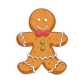 Gingerbread man in sketch style. Christmas symbol. — Stock Vector