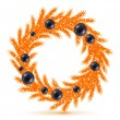 Orange christmas tree wreath with decorations. — Stock Vector #58279279