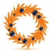 Orange christmas tree wreath with decorations. — Wektor stockowy