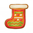 Decorated gift sock. Gingerbread cookie. — Stock Vector #58763455