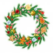 Christmas tree wreath with decorations. — Stock Vector