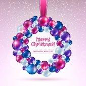 Красочный рождественский венок шаров. — Cтоковый вектор