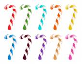 Set of colorful candy canes on white background. — Vector de stock