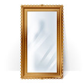 Big mirror in vintage frame, blurry reflection. — Stock Vector