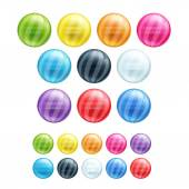 Set of different colorful round striped beads. — Stock Vector