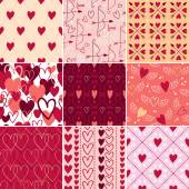 Vintage hearts and love symbols patterns set. — Stock Vector