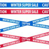 Seamless blue and red tapes - winter sale. — Stock Vector