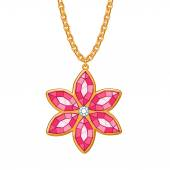 Hand drawn flower pendant necklace. — Stock Vector