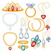 Set of jewelry items. — Vector de stock