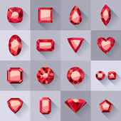 Set of flat style red jewels. — Stock Vector