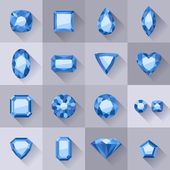 Set of flat style blue jewels. — Stock Vector