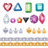 Set of gemstones,decorative elements and chains. — Stock Vector