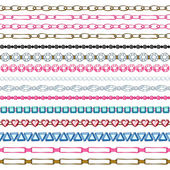 Set of seamless borders - chains and gemstones. — Stock Vector