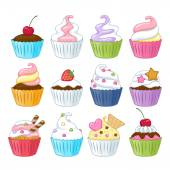 Set of colorful sweet cupcakes. — Stock Vector