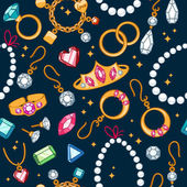 Jewelry items seamless dark background. — Vector de stock