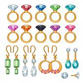 Set of assorted rings and earrings. — Stock Vector