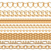 Assorted golden chains on white background. — Stock Vector