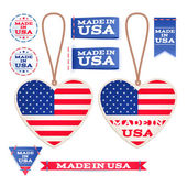 Made in USA hang tags and emblems. — Stock Vector
