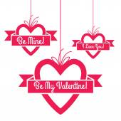 Heart shape hang tags set with greetings. — Vettoriale Stock