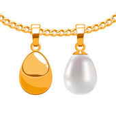 Set of egg form pendants on golden chain. — Vector de stock