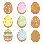 Set of decorated easter cookies - egg form. — Vector de stock