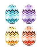 Set of colorful Easter eggs decorated with zigzag. — Stock Vector