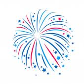 Simple style blue and red firework. — Stock Vector
