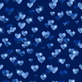 Glowing blue hearts sequins background. — Stock Vector