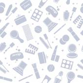 Cosmetics and toiletry icons seamless pattern. — Stockvector