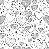 Hearts and dots doodle pattern. Black, white. — Stock Vector