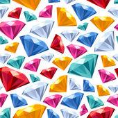Seamless gemstones pattern on white. — Stock Vector