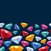 Seamless horizontal gemstones pattern on dark. — Stockvector