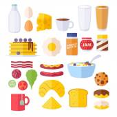 Set of colorful breakfast icons. — Stok Vektör