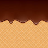 Wafer and flowing chocolate - vector background. — Stok Vektör