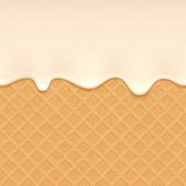 Wafer and flowing cream - vector background. — Stok Vektör