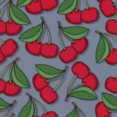 Red cherries seamless pattern. — Stock Vector