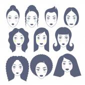 Set of womens faces - simple flat style. — Stock Vector