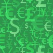 Currency symbols seamless pattern - green color. — Stock Vector #65029935