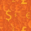 Currency symbols seamless pattern - orange color. — Stock Vector #65029953