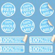Fresh whole milk stickers set. — 图库矢量图片 #65038007