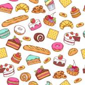 Seamless baked sweet food pattern. White back. — Stock Vector