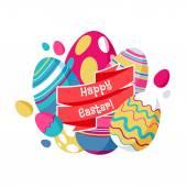 Kleurrijke Pasen eieren wenskaart illustratie. — Stockvector