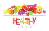 Colorful fruits background. Healthy food. — Stock Vector