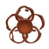 Chocolate blotch isolated. Flower shape. — Stock Vector