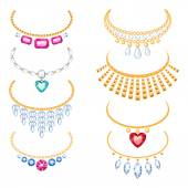 Set of beautyful golden necklaces with gemstones. — Stock Vector