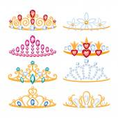 Set of beautyful golden tiaras with gemstones. — Stockvector