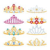 Set of beautyful golden tiaras with gemstones. — Vettoriale Stock