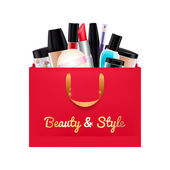 Gift cosmetics set in red paper bag. — Stockvektor