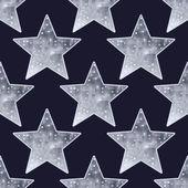 Big metallic silver stars seamless background. — Stock Vector