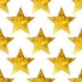 Big metallic golden stars seamless background. — Stock Vector